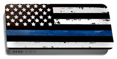 Blue Line Flag Portable Battery Charger