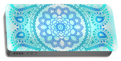 Portable Battery Charger featuring the painting Blue Lotus Mandala by Tammy Wetzel