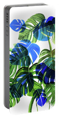Blue Monstera Portable Battery Charger