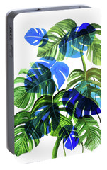 Blue Monstera Portable Battery Charger by Ana Martinez