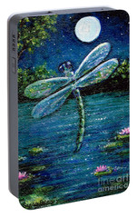 Portable Battery Charger featuring the painting Blue Moon Dragonfly by Sandra Estes