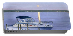 Portable Battery Charger featuring the painting Blue Moon by Lynne Reichhart