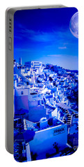 Blue Moon Over Fira Santorini Portable Battery Charger