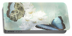 Blue Morpho Butterflies And White Gerbers Portable Battery Charger
