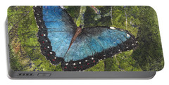 Blue Morpho Butterfly Batik Portable Battery Charger