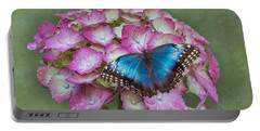Blue Morpho Butterfly On Pink Hydrangea Portable Battery Charger
