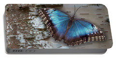 Blue Morpho Butterfly On White Birch Bark Portable Battery Charger