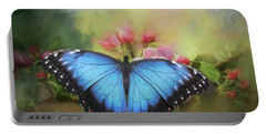Blue Morpho On A Blossom Portable Battery Charger
