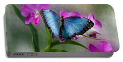 Blue Morpho With Orchids Portable Battery Charger