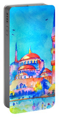 Blue Mosque In Orange Portable Battery Charger