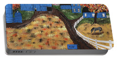Portable Battery Charger featuring the painting Blue Mountain Farm by Jeffrey Koss