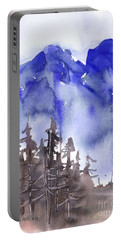 Portable Battery Charger featuring the painting Blue Mountains by Yolanda Koh