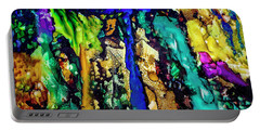Portable Battery Charger featuring the painting Blue Night Waterfall by Melinda Ledsome