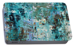 Portable Battery Charger featuring the painting Blue Ocean - Abstract Art by Carmen Guedez