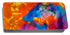 Portable Battery Charger featuring the digital art Blue On Orange by Antonio Romero