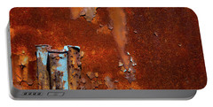 Portable Battery Charger featuring the photograph Blue On Rust by Karol Livote