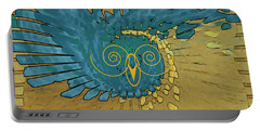 Abstract Blue Owl Portable Battery Charger by Ben and Raisa Gertsberg