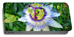 Blue Passion Flower Portable Battery Charger