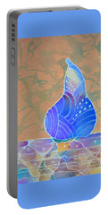 Portable Battery Charger featuring the painting Blue Pear by Nancy Jolley