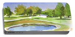 Portable Battery Charger featuring the painting Blue Pond At The A V Country Club by Kip DeVore