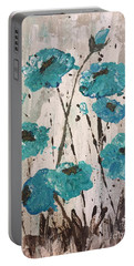 Portable Battery Charger featuring the painting Blue Poppies by Lucia Grilletto