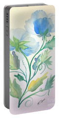 Blue Poppies Portable Battery Charger by Maria Urso
