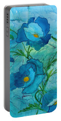 Blue Poppies, Watercolor On Yupo Portable Battery Charger