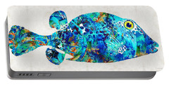 Blue Puffer Fish Art By Sharon Cummings Portable Battery Charger