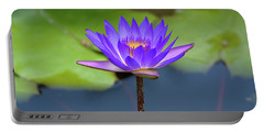 Blue Purple And Orange Water Lily Portable Battery Charger