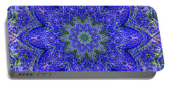 Blue Purple Lavender Floral Kaleidoscope Wall Art Print Portable Battery Charger by Carol F Austin