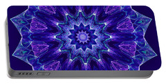 Blue And Purple Mandala Fractal Portable Battery Charger