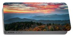 Blue Ridge Parkway Autumn Sunset Scenic Landscape Asheville Nc Portable Battery Charger