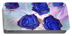 Blue Roses Abstract Portable Battery Charger