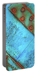 Blue Rusty Boat Detail Portable Battery Charger by Lyn Randle