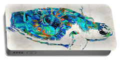 Blue Sea Turtle By Sharon Cummings  Portable Battery Charger by Sharon Cummings