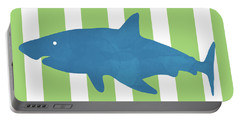 Blue Shark 1- Art By Linda Woods Portable Battery Charger