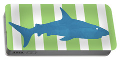 Blue Shark 2- Art By Linda Woods Portable Battery Charger