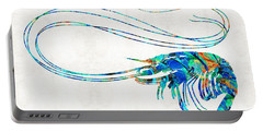 Blue Shrimp Art By Sharon Cummings Portable Battery Charger