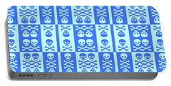 Blue Skull And Crossbones Pattern Portable Battery Charger by Roseanne Jones