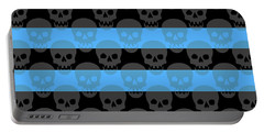 Blue Skull Stripes Portable Battery Charger by Roseanne Jones