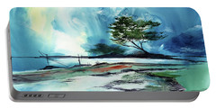 Portable Battery Charger featuring the painting Blue Sky by Anil Nene