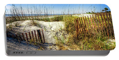 Portable Battery Charger featuring the photograph Blue Sky Dunes by Debra and Dave Vanderlaan
