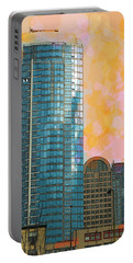 Portable Battery Charger featuring the photograph Blue Skyscraper Seattle by Yulia Kazansky