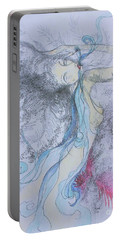 Portable Battery Charger featuring the drawing Blue Smoke And Mirrors by Marat Essex