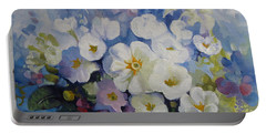 Portable Battery Charger featuring the painting Blue Spring by Elena Oleniuc