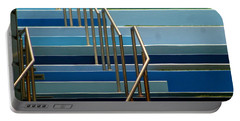 Stairs Blue Abstract In New Orleans Louisiana Portable Battery Charger by Michael Hoard