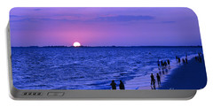 Blue Sunset On The Gulf Of Mexico At Fort Myers Beach In Florida Portable Battery Charger