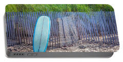 Blue Surfboard At Montauk Portable Battery Charger by Art Block Collections