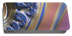 Portable Battery Charger featuring the digital art Blue Swirly Fractal 2 by Bonnie Bruno