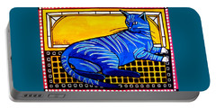 Blue Tabby - Cat Art By Dora Hathazi Mendes Portable Battery Charger